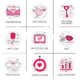 Valentine Day Gift Card Holiday Love Icon Stamp Set. Vector Illustration Stock Photography