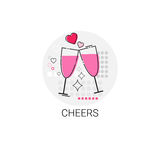 Valentine Day Gift Card Holiday Love Icon Stamp Royalty Free Stock Photo