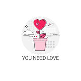 Valentine Day Gift Card Holiday Love Icon Stamp. Vector Illustration Stock Photos