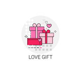 Valentine Day Gift Card Holiday Love Icon Stamp. Vector Illustration Royalty Free Stock Photos