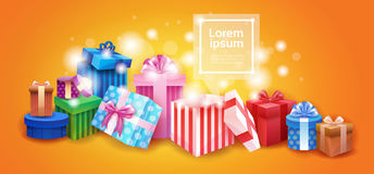 Valentine Day Gift Card Holiday Love Present Colorful  Box Banner. Valentine Day Gift Card Holiday Love Present Colorful Gift Box Banner Flat Vector Illustration Royalty Free Stock Photo