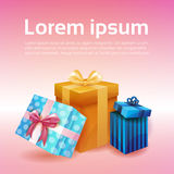 Valentine Day Gift Card Holiday Love Present Colorful Gift Box Banner. Flat Vector Illustration Royalty Free Stock Photography