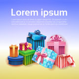 Valentine Day Gift Card Holiday Love Present Colorful Gift Box Banner. Flat Vector Illustration Stock Images