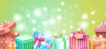 Valentine Day Gift Card Holiday Love Present Colorful Gift Box Banner. Flat Vector Illustration Stock Photos