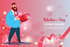 Valentine Day Gift Card Holiday Man With Love Heart Shape Stock Image