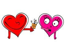 Valentine day Gift cartoon hearts Stock Photos