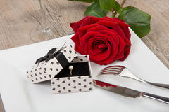 Valentine day gift on a plate Stock Photos