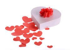 Valentine day gift with ribbon Royalty Free Stock Images