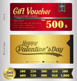 Valentine Day Gift voucher template with premium pattern and envelope design Royalty Free Stock Image