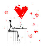 Valentine day. Girl with laptop in cafe Stock Photos