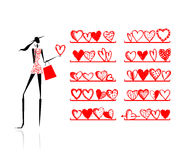 Valentine day. Girl in shop with hearts Royalty Free Stock Image