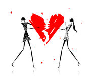 Valentine day. Girls with broken heart Royalty Free Stock Image