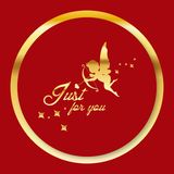 Valentine Day Golden cupid just for you Vector Image Stock Image