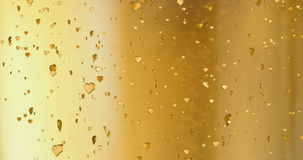 Valentine day golden hearts shape rise like frizz champagne bubbles movement on gold background, holiday festive valentine day stock video
