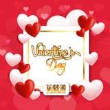 Valentine Day Golden Square Vector bild Royaltyfri Fotografi