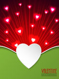 Valentine day greeting with bursting hearts Stock Images