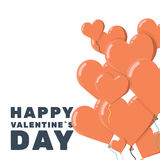 Valentine day greeting card with a bunch of heart balloons Royalty Free Stock Photography