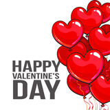 Valentine day greeting card with bunch of heart shaped balloons Royalty Free Stock Photos