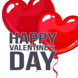 Valentine day greeting card with bunch of heart shaped balloons Stock Images