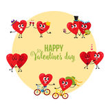 Valentine day greeting card with couples of loving heart characters Stock Photo
