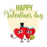 Valentine day greeting card design with heart characters having wedding Stock Photo