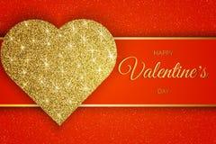 Valentine Day Greeting Card Feestelijke Kaart voor de Gelukkige Dag van Valentine s De rode Achtergrond met gouden Hart en schitt stock illustratie