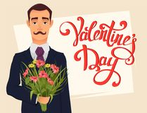 Handsome gentleman in suit with mustache holding bouquet of wildflowers. Valentine day greeting card with hand drawn lettering. Handsome gentleman in suit with Stock Illustration
