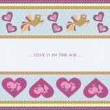Valentine day greeting card. Greeting card with hearts and birds Stock Photos