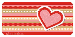 Valentine day greeting card. Greeting card with lovely heart Royalty Free Stock Photo