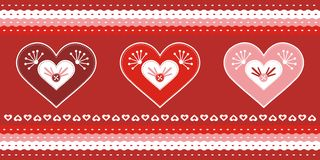 Valentine day greeting card. Greeting card with 3 lovely hearts Royalty Free Stock Photos