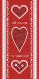 Valentine day greeting card. Greeting card with 3 lovely hearts Royalty Free Stock Photo