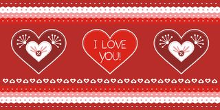 Valentine day greeting card. Greeting card with 3 lovely hearts Royalty Free Stock Image
