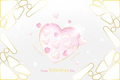 Valentine Day greeting card luxury template. Celebration concept with Pink hearts and gold elements on background with royalty free illustration
