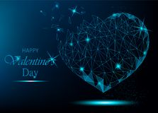 Valentine day greeting card with polygonal heart on blue backgro. Und. Vector illustration for holiday Royalty Free Stock Photography