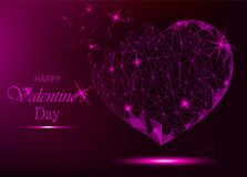 Valentine day greeting card with polygonal heart on violet backg. Round. Vector illustration for holiday Stock Photo