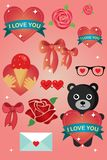 Valentine day greeting card and stickers vector illustration