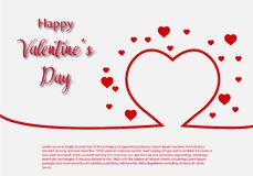 Valentine Day greeting card template, design with red heart, valentine day celebration concept. Vector royalty free illustration