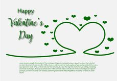 Valentine Day greeting card template, design with red heart, valentine day celebration concept. Vector stock illustration