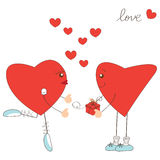 Valentine day greeting with hearts Stock Photos