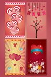 Valentine day greeting love cards in 4 variations stock photo