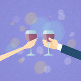 Valentine Day Greeting Toast Two Hands Hold Glasses Wine. Flat Vector Illustration Royalty Free Stock Photography