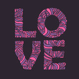 Valentine day hand drawn love typography. Doodle lettering. Vector vintage illustration. Royalty Free Stock Photo