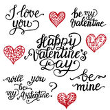 Valentine Day hand lettering set. Romantic quotes  I love you, Happy Valentine Day, be mine. Zentangle hearts. Vector calligraphy Stock Photography