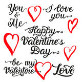 Valentine Day hand lettering set. Romantic quotes:  I love you, Happy Valentine Day, be my Valentine, you and me. Ink brush hearts. For greeting cards, posters Royalty Free Stock Images