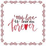 Valentine day handwritten card. Lovely vector lettering. Stock Image