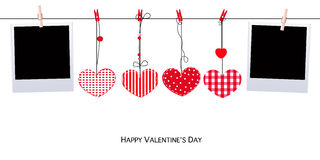 Valentine Day Hanging red heart and blank photo blank photo vector background Stock Images