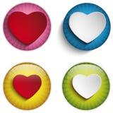 Valentine Day Heart auf bunten glatten Knöpfen Lizenzfreies Stockfoto