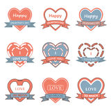 Valentine day heart badge,label,ribbon,and greeting card set. Vector Illustration EPS10 Stock Photography