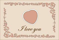 Valentine Day Heart Greeting Template tradicional Imagen de archivo
