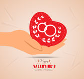 Valentine day with heart in hand Royalty Free Stock Photography